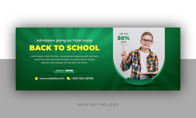 Torna alla foto di copertina della timeline di ammissione alla scuola e al design del modello di banner web