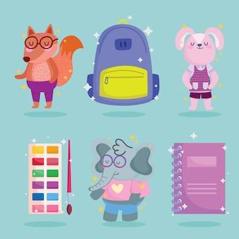 Torna a scuola animali cartoni animati e icone gruppo design, classe di educazione e tema della lezione