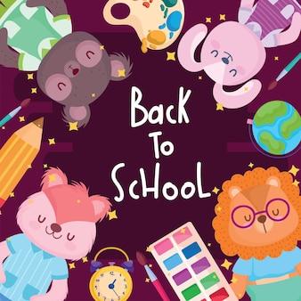 Torna a cartoni animati di animali da scuola con design del telaio delle icone, classe di educazione e tema della lezione