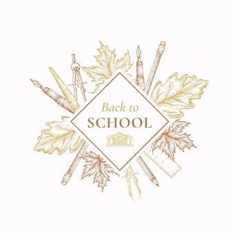 Torna a scuola segno di etichetta di vendita in autunno o modello di carta