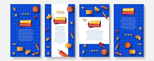 Di nuovo a scuola. torna alla vendita della scuola. banner vettoriale per annunci sui social media, annunci web, cartoline, biglietti, messaggi aziendali, volantini scontati e grandi striscioni di vendita. set di modelli di storie sui social media