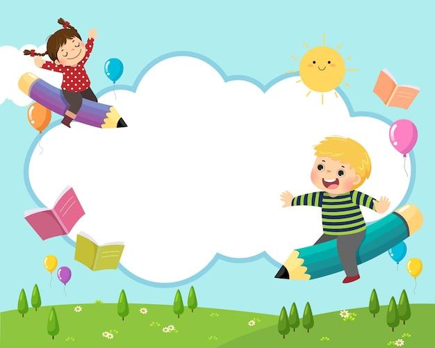 Torna al concetto di sfondo della scuola con i bambini della scuola felice in sella a una matita volante nel cielo.