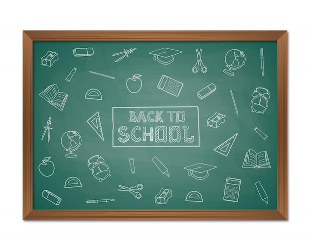 Torna a sfondo scuola con lavagna e scarabocchi