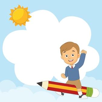 Ritorno a scuola sfondo con bambini che volano su una matita