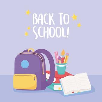 Ritorno a scuola, matite del libro aperto dello zaino e pastello nel fumetto di istruzione elementare della tazza