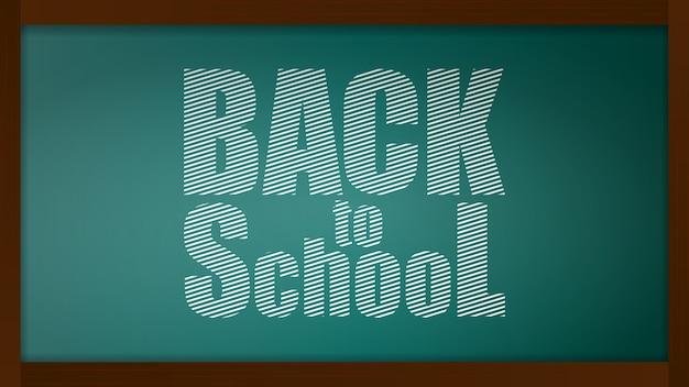 Torna a banner di scuola. lavagna con una lavagna con uno sfondo verde. elemento di design sul tema del business e della scuola.