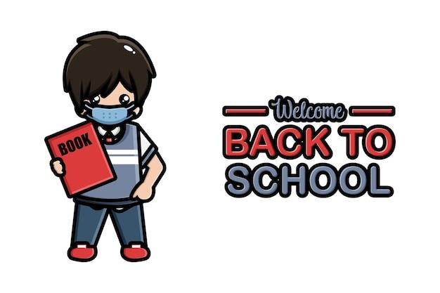 Banner di ritorno a scuola ragazzo carino che indossa la maschera