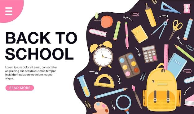 Torna a scuola banner design vari materiale scolastico libri zaino allarme cancelleria palla ecc