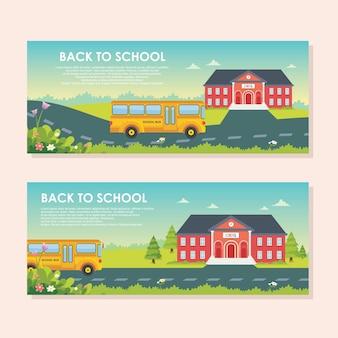 Torna a scuola banner design con simpatico stile cartone animato