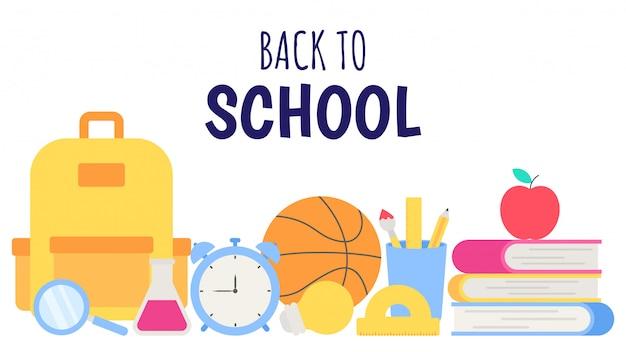Torna al banner della scuola. carta, poster e modello degli oggetti di istruzione su fondo bianco.