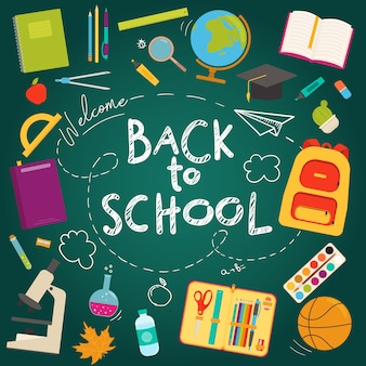 Torna a scuola banner piatto icona impostata su uno sfondo di lavagna scuola. illustrazione. concetto di educazione