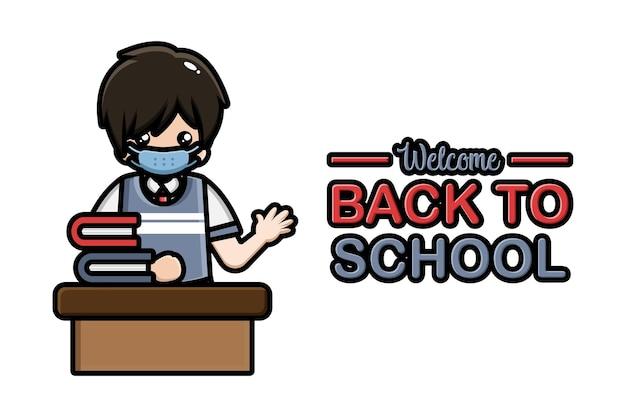 Torna a scuola banner studente maschio seduto indossando maschera
