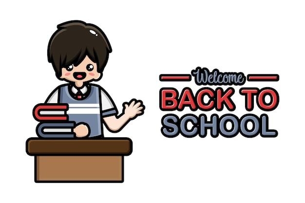 Torna a scuola banner studente maschio seduto