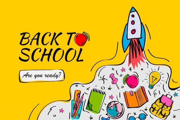 Di nuovo all'insegna di scuola, manifesto con gli scarabocchi, illustrazione.