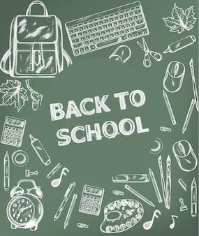 Torna al banner della scuola. la promozione dei rifornimenti di scuola di vendita fa pubblicità al manifesto. trame di disegno di contorno di gesso