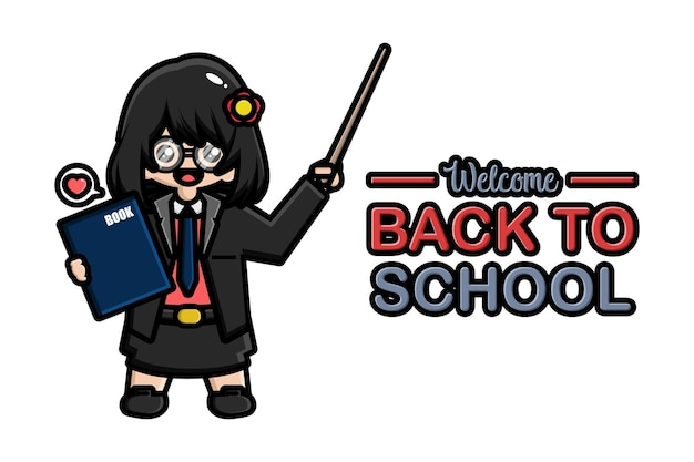 Insegnante di banner di ritorno a scuola con libro