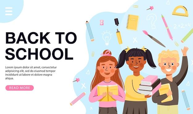 Torna a scuola banner modello personaggi per bambini con libri