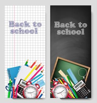 Banner di ritorno a scuola, illustrazione vettoriale