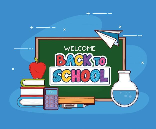 Torna a scuola banner con icone di forniture di lavagna e istruzione