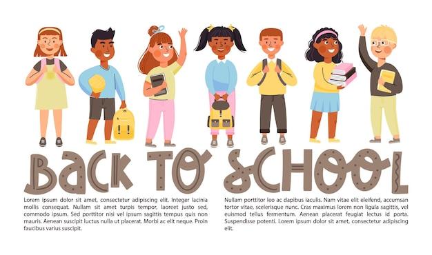 Banner di ritorno a scuola con spazio copia studenti delle scuole elementari con libri e zaini