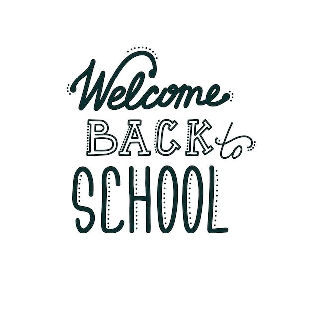 Banner di ritorno a scuola con scritte iscrizione disegnata a mano che accoglie studenti e alunni