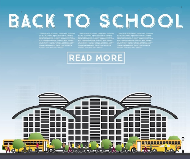 Di nuovo a scuola. banner con scuolabus, edificio e studenti. illustrazione di vettore.
