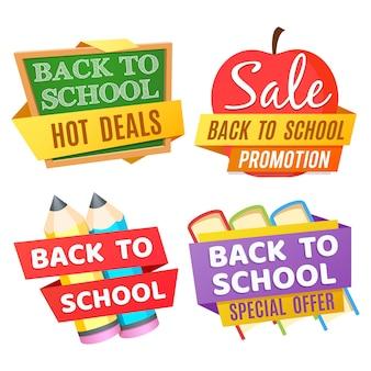 Torna a scuola banner isolati su sfondo bianco con scrivania, mela, matite, libri
