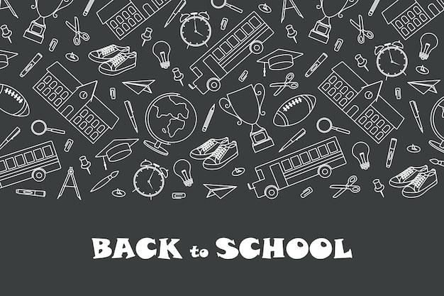 Modello di banner di ritorno a scuola con materiale scolastico disegnato a mano