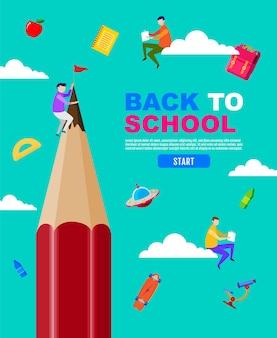 Ritorno a scuola grande matita bambino bambini design piatto di distanza sociale.