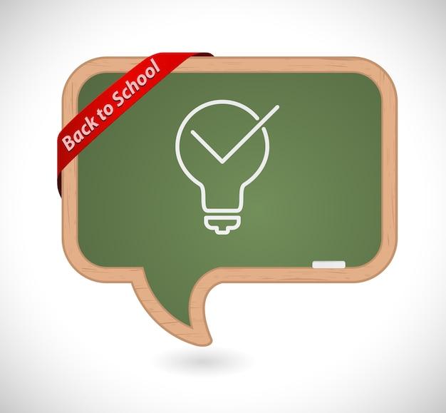 Torna a scuola lavagna nera con l'icona del concetto di lampadina