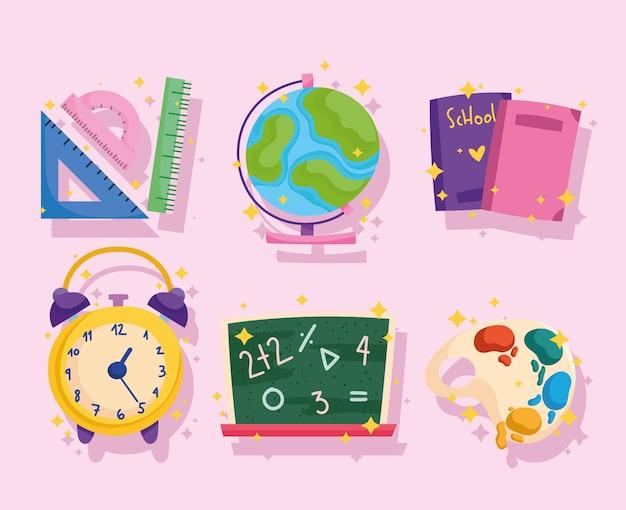Ritorno a scuola, libri del righello del globo della lavagna e icone dell'orologio