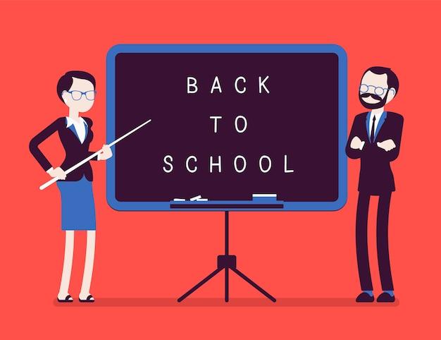 Ritorno al consiglio scolastico. insegnanti di sesso maschile e femminile infelici in piedi alla lavagna, per festeggiare il nuovo anno a scuola, dare il benvenuto agli studenti per iniziare a studiare. illustrazione con personaggi senza volto