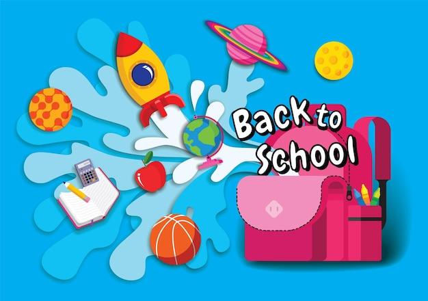 Ritorno a scuola, ispirazione per libri, apprendimento online, studio da casa, vettore di design piatto.