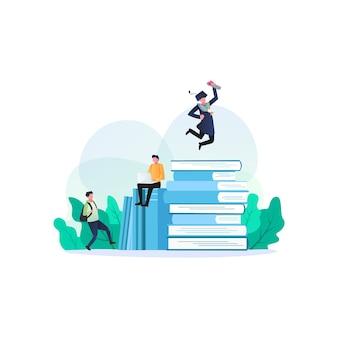 Ritorno a scuola, libri, istruzione e illustrazione di ricerca