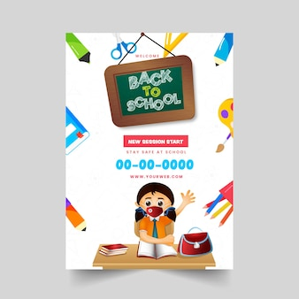 Torna al layout del modello di brochure di scuola con la ragazza dello studente che indossa la maschera e fornisce elementi su priorità bassa bianca.