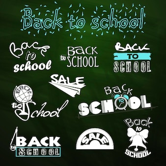 Di nuovo a scuola. disegni calligrafici. vendita. insieme di vettore