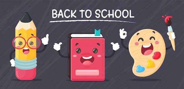 Di nuovo a scuola. personaggi dei cartoni animati di cancelleria gesto felice di andare a scuola sullo sfondo lavagna.