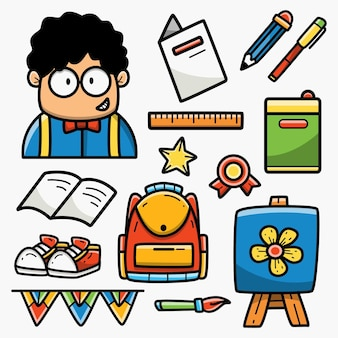 Torna a scuola cartoon doodle design