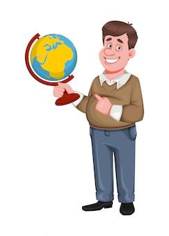 Di nuovo a scuola. allegro insegnante maschio tiene il globo