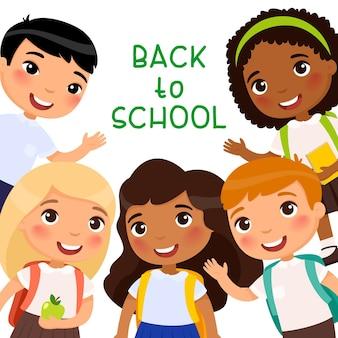 Ritorno a scuola allievi allegri che festeggiano il 1 settembre compagni di scuola felici