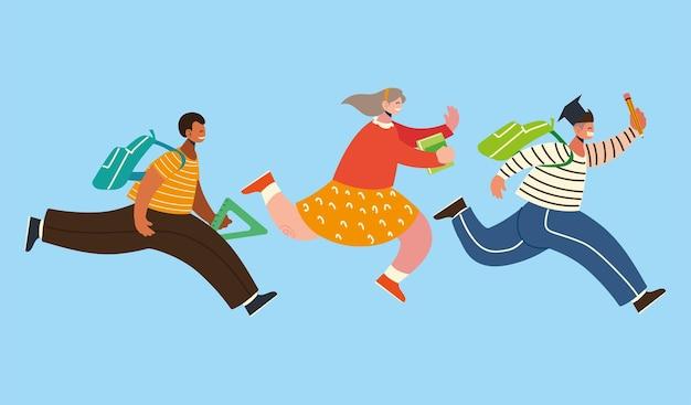 Torna a scuola studenti allegri con uno zaino corre felicemente all'illustrazione della scuola