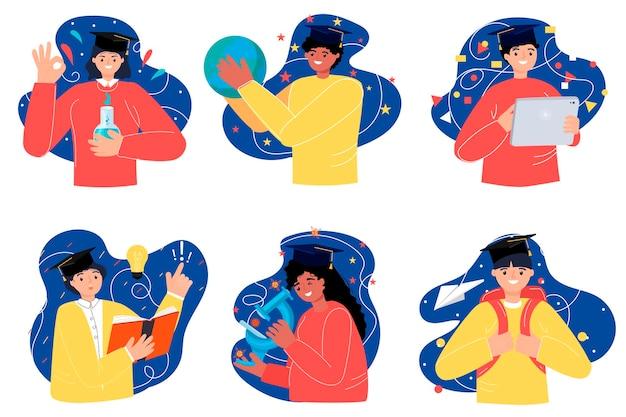 Di nuovo a scuola. una collezione di personaggi in stile moderno. illustrazione vettoriale. generazione. formazione in linea.
