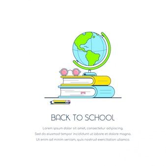 Torna alla bandiera del concetto di scuola. illustrazione di stile piatto.