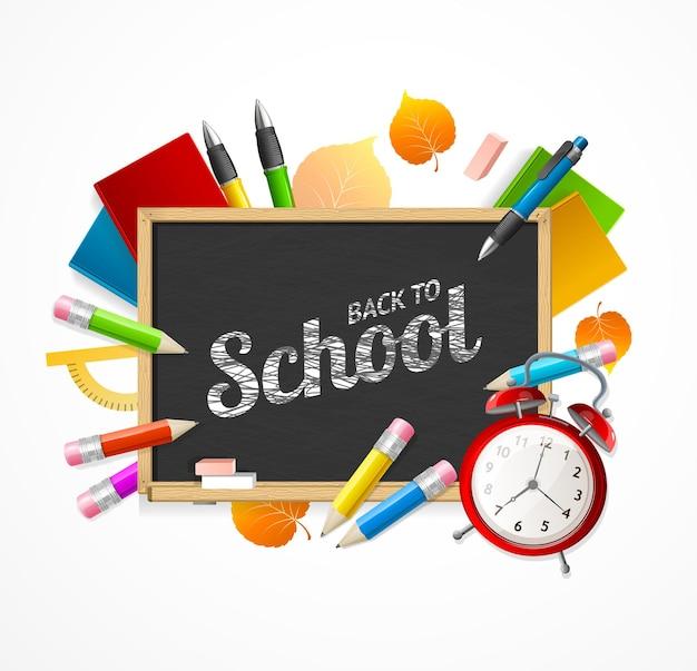 Torna al concetto di scuola. lavagna nera e attributi di studio.