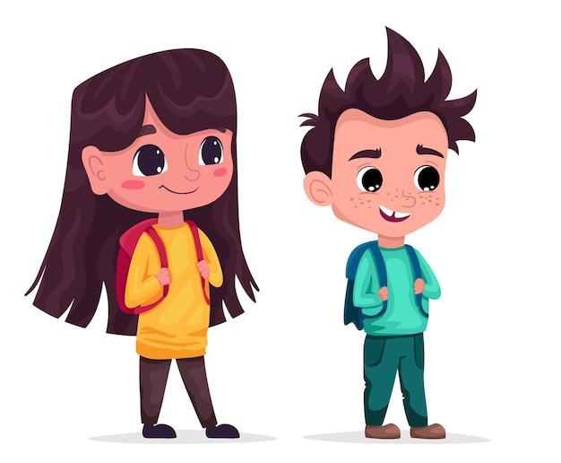 Concetto di ritorno a scuola ragazzo e ragazza carini con gli zaini i bambini con le borse degli studenti sono felici
