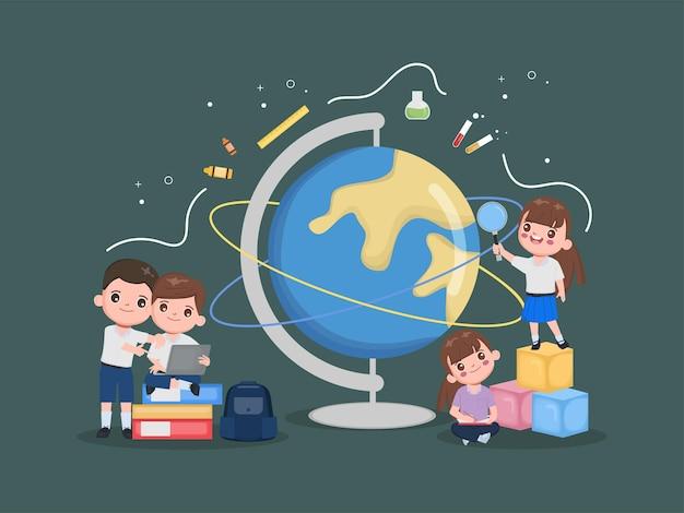 Torna all'illustrazione del concetto di scuola. studente con educazione all'apprendimento