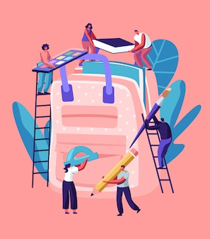 Torna al concetto di scuola, personaggi maschili e femminili sulle scale mettono enormi accessori nello zaino.