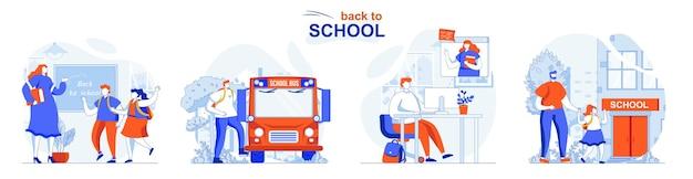 Set di concetti di ritorno a scuola gli alunni studiano nelle lezioni in classe elearning a casa