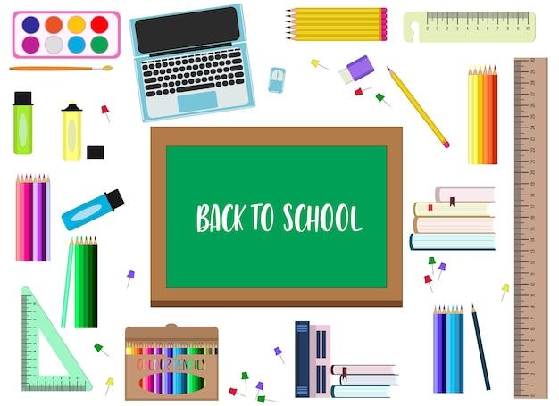 Torna al concetto di scuola. illustrazione vettoriale. un insieme di elementi diversi per la scuola