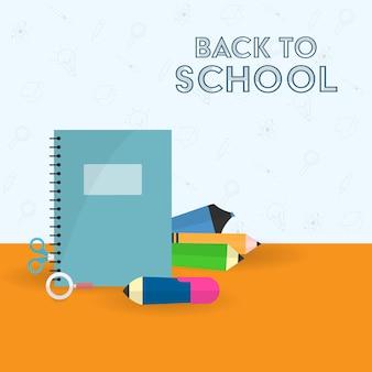 Torna al concetto di scuola con elementi di forniture di istruzione su sfondo rosso e blu.